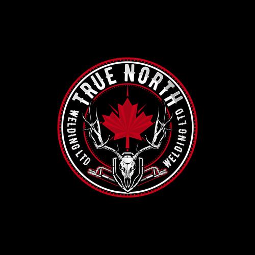 Biker logo with the title 'True North Logo'