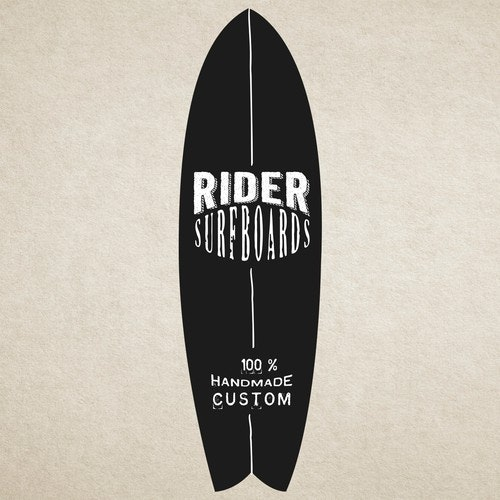 Surfboard logo with the title 'Rider Surfboards is looking for a face-lift with a fresh, appealing logo'