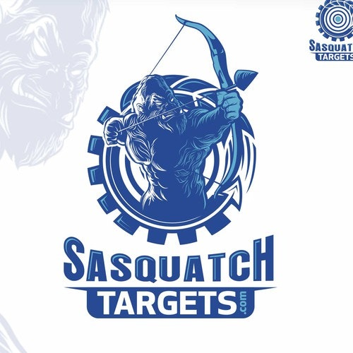 Archery logo with the title 'SASQUATCH mascot logo'