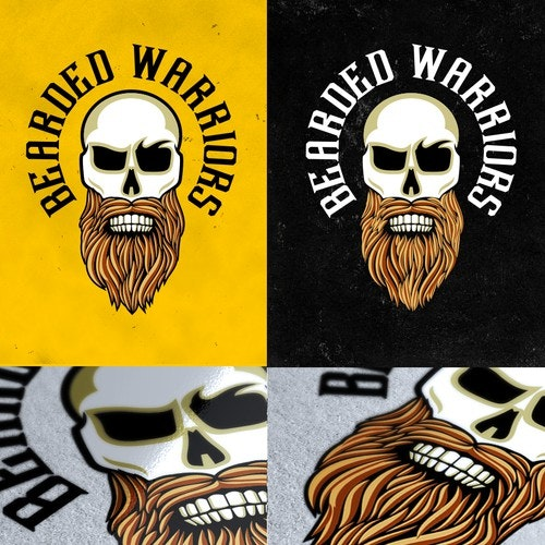 Pet grooming logo with the title 'Masculine Design with Skull and Beard'
