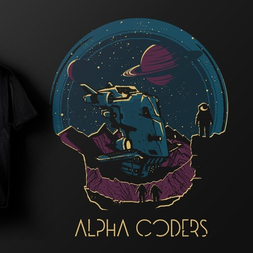 Space t-shirt with the title 'Alpha Coders'