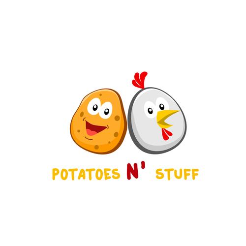 Potato logo with the title 'Logo for Potatoes N' Stuff'