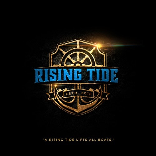 Nautical logo with the title 'Rising Tide'