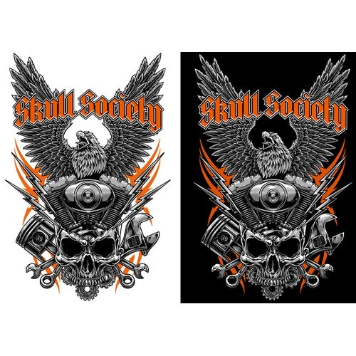 Biker t-shirt with the title 'Tshirt Artwork for Skull Society'