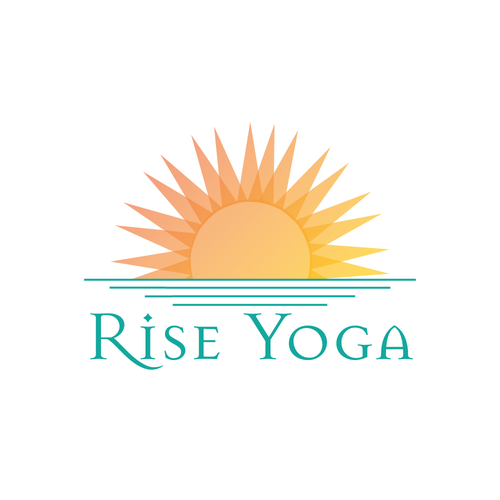 Yellow and blue logo with the title 'Shining Logo Concept for Yoga Studio'