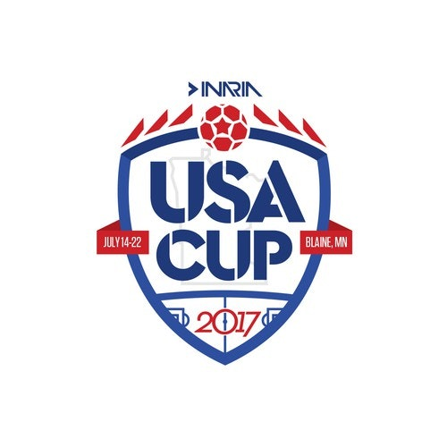 Tournament logo with the title 'Logo/Emblem for USA CUP, soccer tournament'