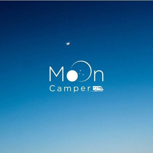 Coffee logo with the title 'Full moon above Wohnmobil.'