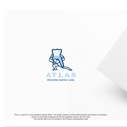 Pediatric logo with the title 'Design a fun logo for Atlas Pediatric Dental Care.'