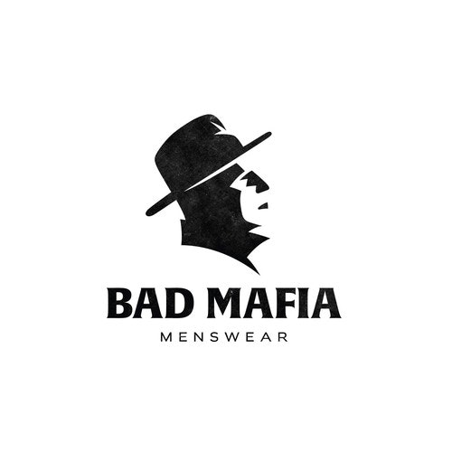Man logo with the title 'Minimalist logo for Bad Mafia.'