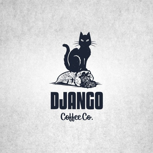 Cat logo with the title 'Django coffee'