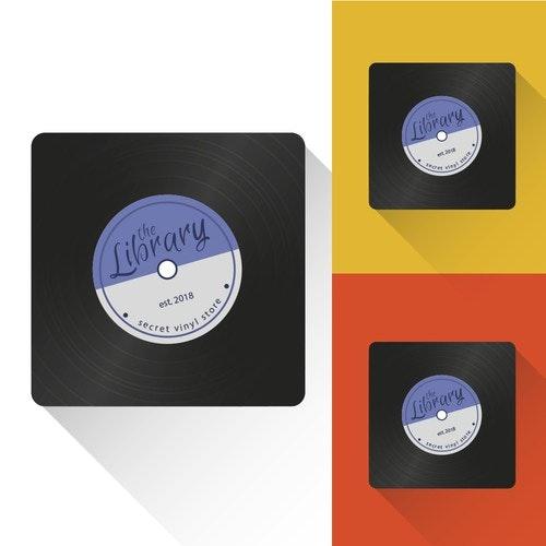 Vinyl record logo with the title 'Logotype of vinyl store'