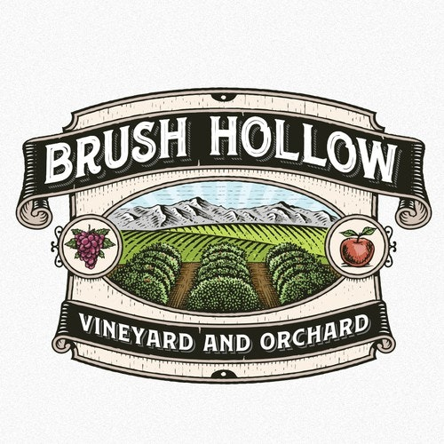 Vineyard logo with the title 'Brush Hollow Vineyard and orchard'