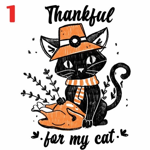 Illustrated t-shirt with the title 'Thanksgiving Cat Theme Illustration'