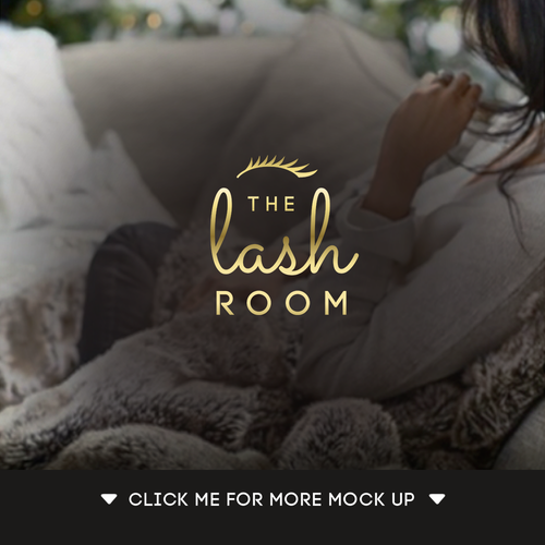 Eyelash logo with the title 'Finalist Logo for The Lash Room Microblading and Lash Extension'