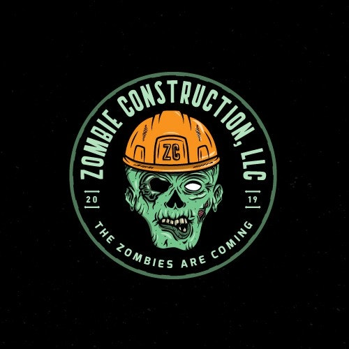 Badass logo with the title 'Logo design for Zombie Construction, LLC'