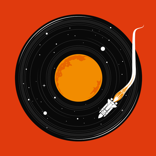Music t-shirt with the title 'Space Record'