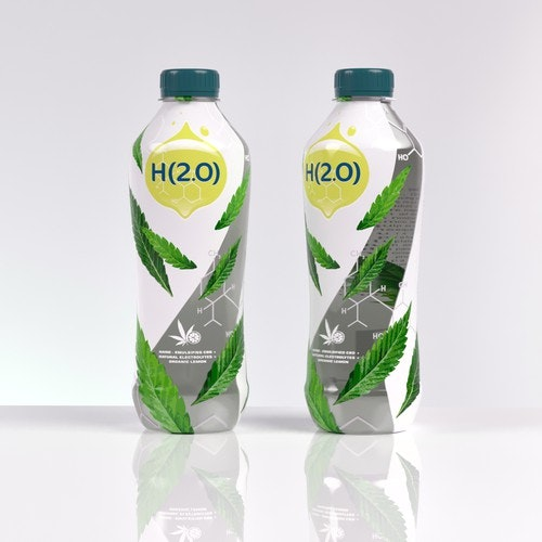 Drink logo with the title 'CBD rehydration beverage - Organic'