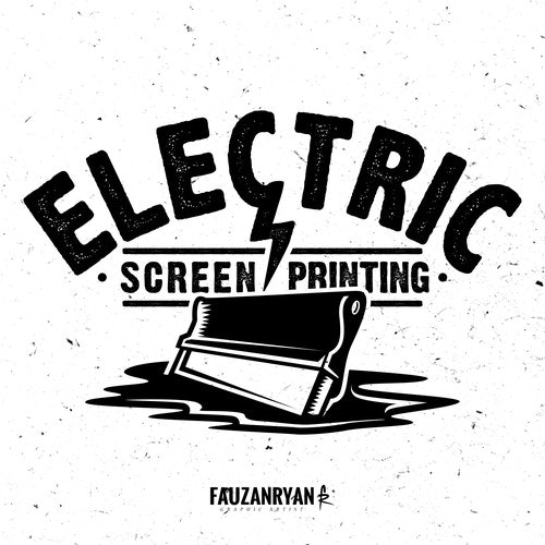 Rock logo with the title 'Bold vintage logo concept for Electric Screen Printing'