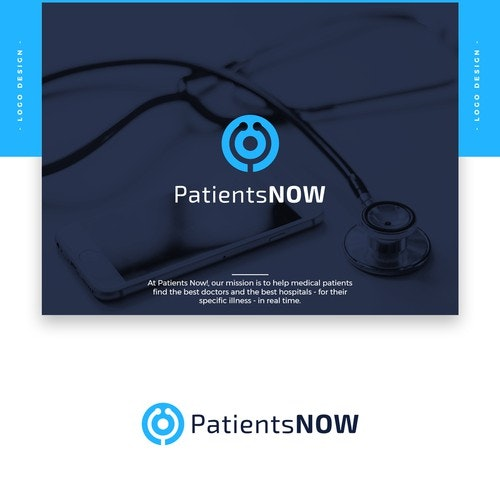 """Doctor logo with the title 'Design a Captivating Logo for """"Patients Now!""""'"""
