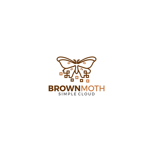 Pixel logo with the title 'Brown Moth Logo Design'
