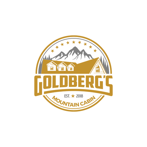 Cabin logo with the title 'Goldber'g Mountain Cabin'