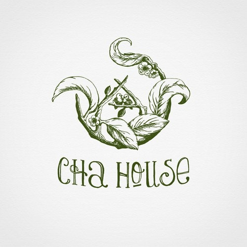 Warm logo with the title 'Hand drawn logo for tea house.'
