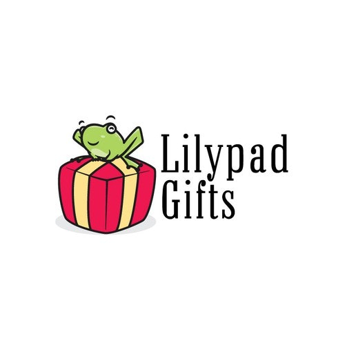 Gift box logo with the title 'Lilypad Gifts logo concept design'