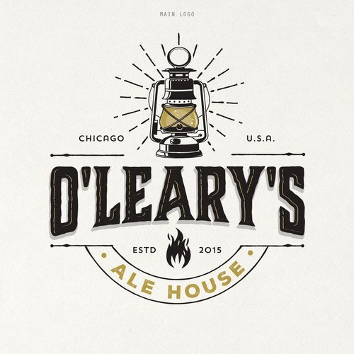 Rustic logo with the title 'O'LEARY'S ALE HOUSE'
