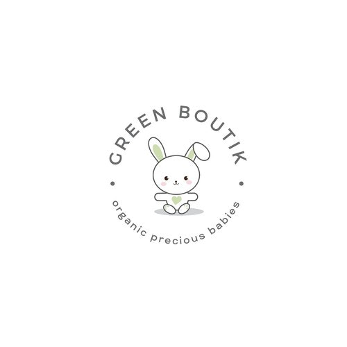Bunny logo with the title 'Cute yet simple and professional logo for the organic kids store'
