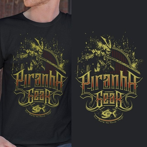 Warrior t-shirt with the title 'Samurai for Piranha Gear'