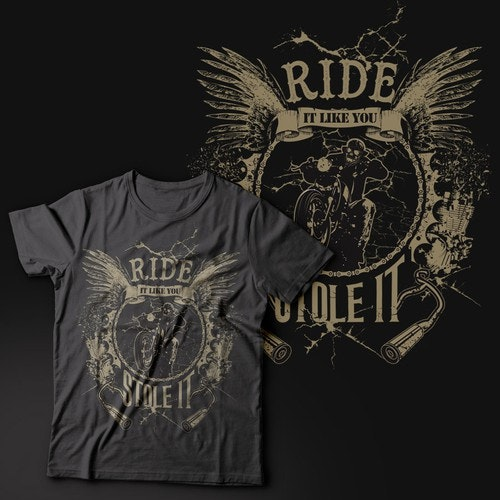 Wings t-shirt with the title 'Hot Vintage Motorcycle Shirt - Ready for your designs. GO!!!'