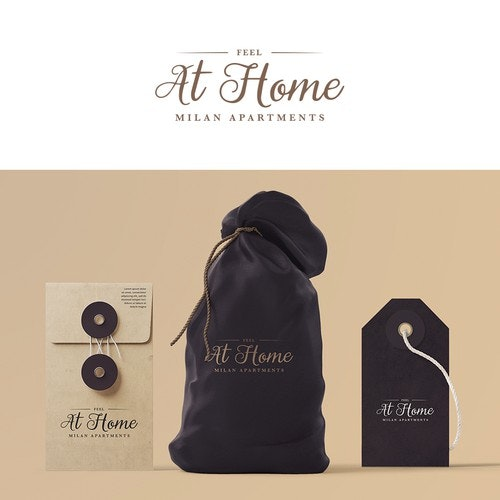 Curly logo with the title 'Feel at Home Logo Concept'