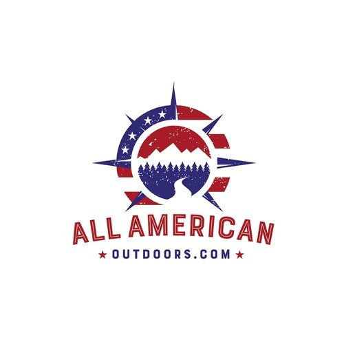 American flag logo with the title 'Modern logo design for outdoors'