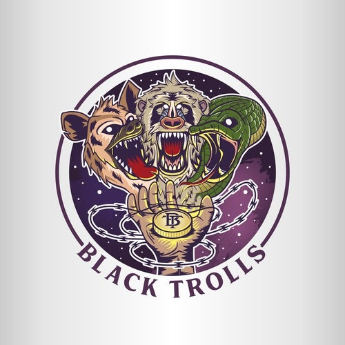 Coin logo with the title 'Logo illustration for Black Trolls'