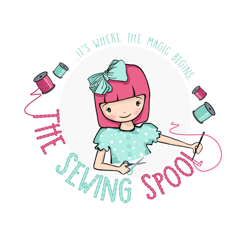 Embroidery logo with the title 'The Sewing Spool'
