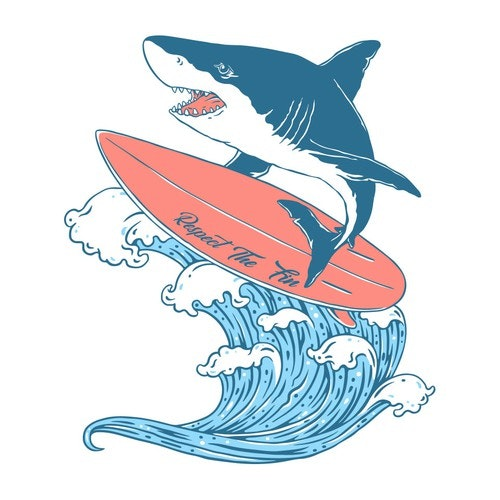Ocean t-shirt with the title 'Surfing Shark'