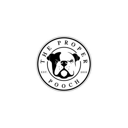 Bulldog logo with the title 'The Proper Pooch'