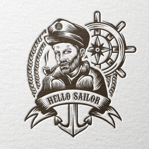Logo t-shirt with the title 'Hello Sailor'
