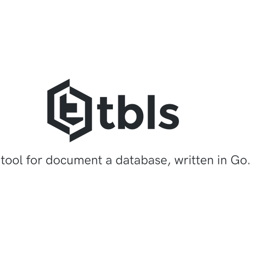 Database logo with the title 'tbls is a CI-Friendly tool for document a database, written in Go.'