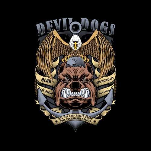 Patriotic t-shirt with the title 'Devil Dogs Military'