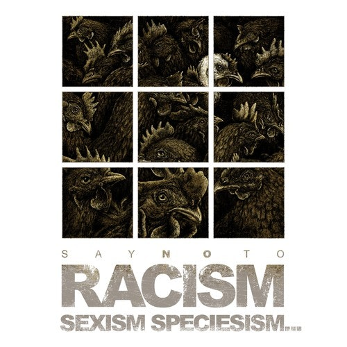 Vegetarian t-shirt with the title 'SAY NO TO RACISM, SEXISM, SPECIESISM, ...'