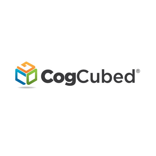 Blue logo with the title 'Logo for CogCubed'