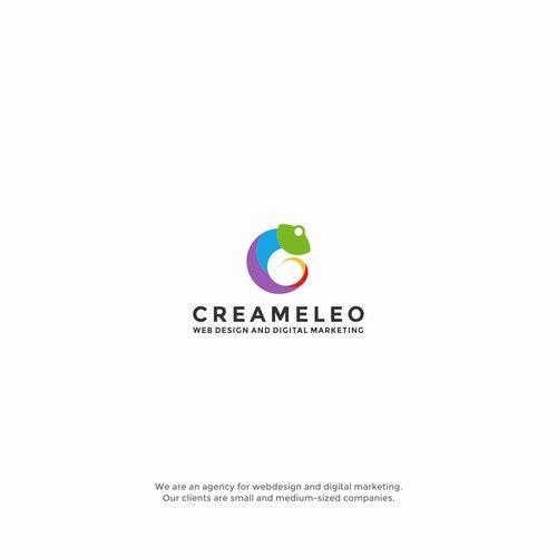 Chameleon logo with the title 'Creative logo for Creameleo'