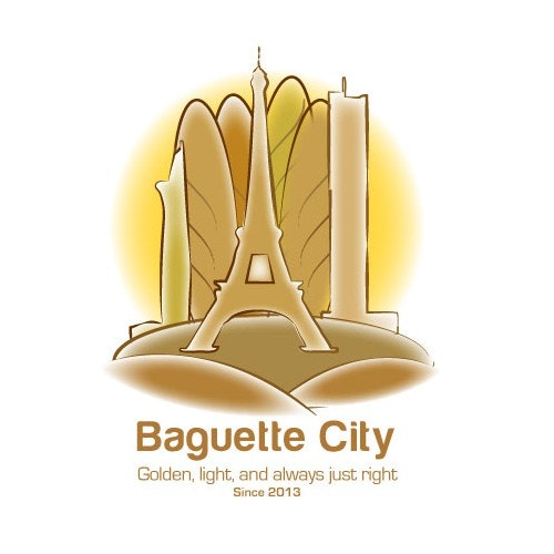 Sandwich logo with the title 'Guaranteed! Design a logo for Baguette City! Any level of creativity welcome!'