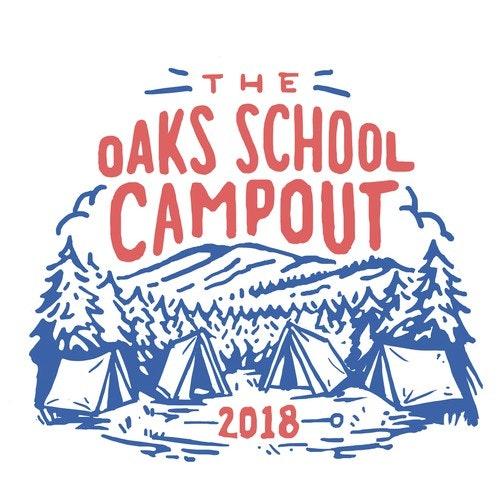 Vintage t-shirt with the title 'Oaks School Campout'