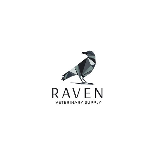 Triangle logo with the title 'Geometric logo concept for RAVEN, an orthopedic veterinary supply for small and large animals'