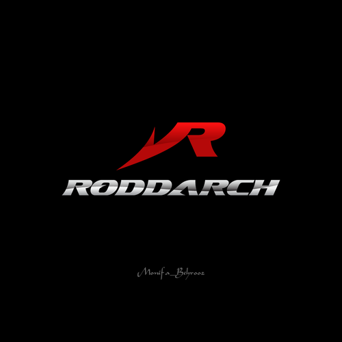 Fishing hook logo with the title 'Strong & sporty Logo For RODDARCH'