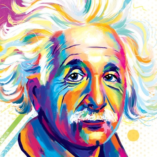 Colorful t-shirt with the title 'Portrait of Albert Einstein'