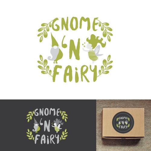 Fairy tale logo with the title 'Elegant Fairy Gnome Logo for Gourmet Candy Company'
