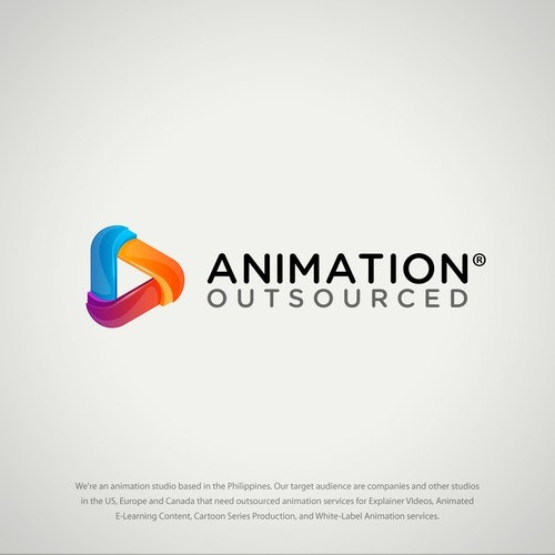 3D logo with the title 'Animation Outsourced Logo'
